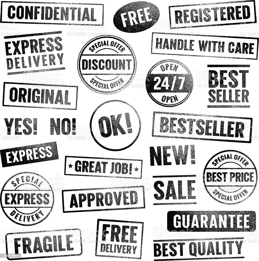 Grunge-Briefmarken – Vektorgrafik