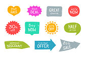 Grunge sale stickers set. Limited offer arrow, half price bubble, season discount ribbon. Flat vector illustrations for badges and labels design, advertising, promo campaign concept