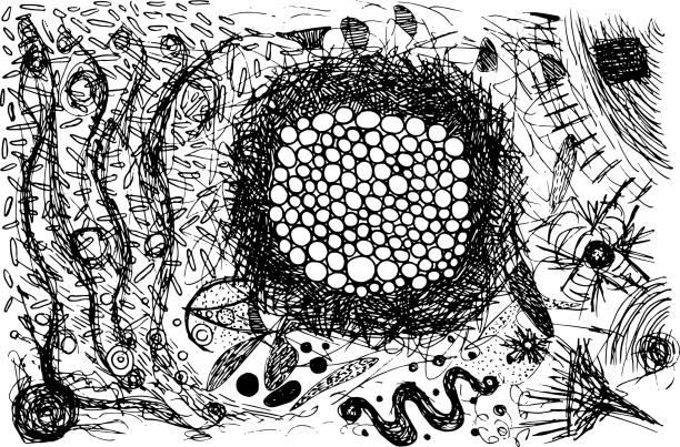 grunge kratzer gestylt doodle tinte hintergrund. schwarz-weiß-abstrakte illustration. vector kunstwerk - punk stock-grafiken, -clipart, -cartoons und -symbole