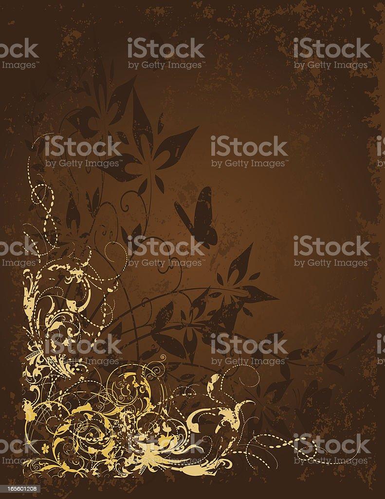 Grunge Scroll & Flower royalty-free stock vector art