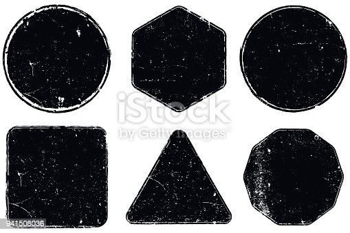 Vector grunge seal shapes isolated on white background