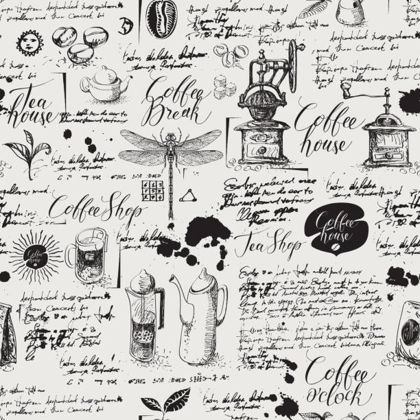 Grunge seamless background on coffee and tea theme Vector seamless pattern on tea and coffee theme in retro style. Various coffee symbols, dragonfly, blots and inscriptions on a background of old manuscript. Can be used as wallpaper or wrapping paper tea room stock illustrations