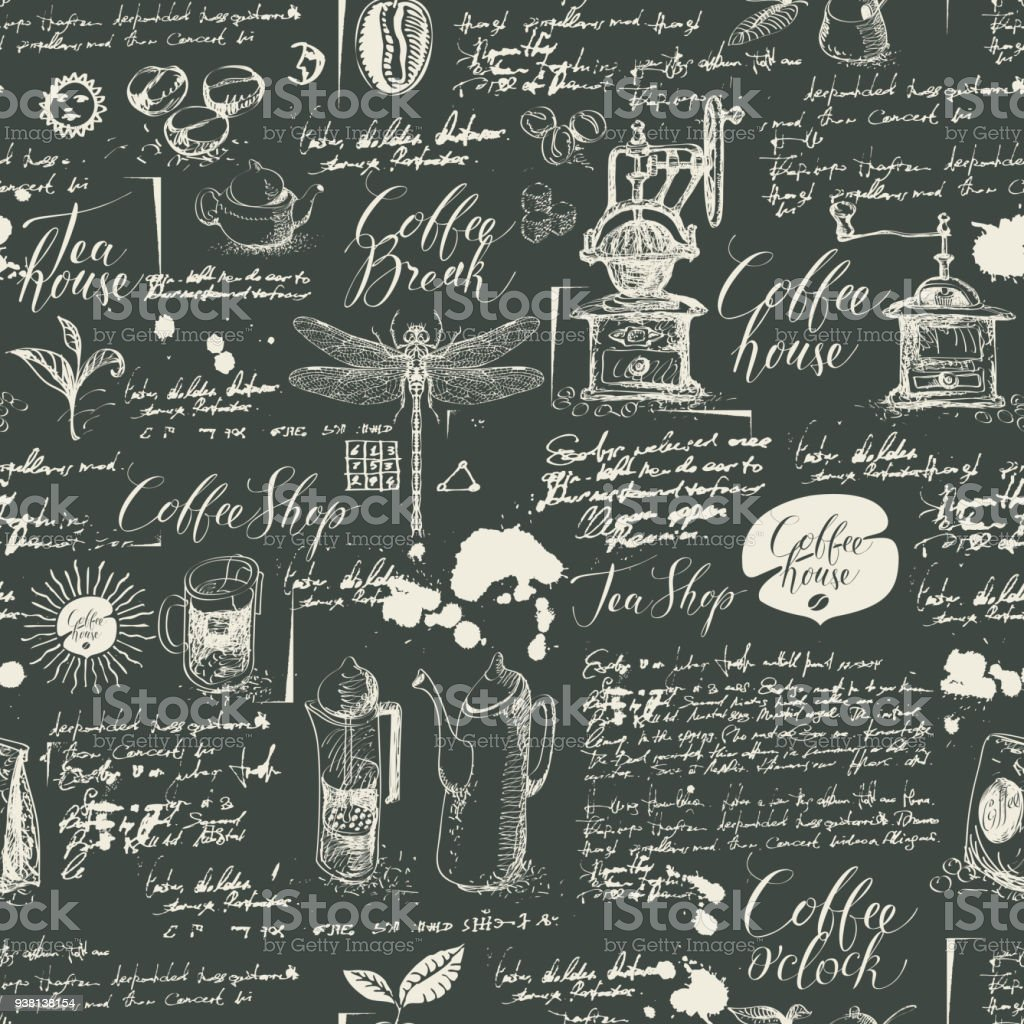 Kitchen Tea Background: Grunge Seamless Background On Coffee And Tea Theme Stock