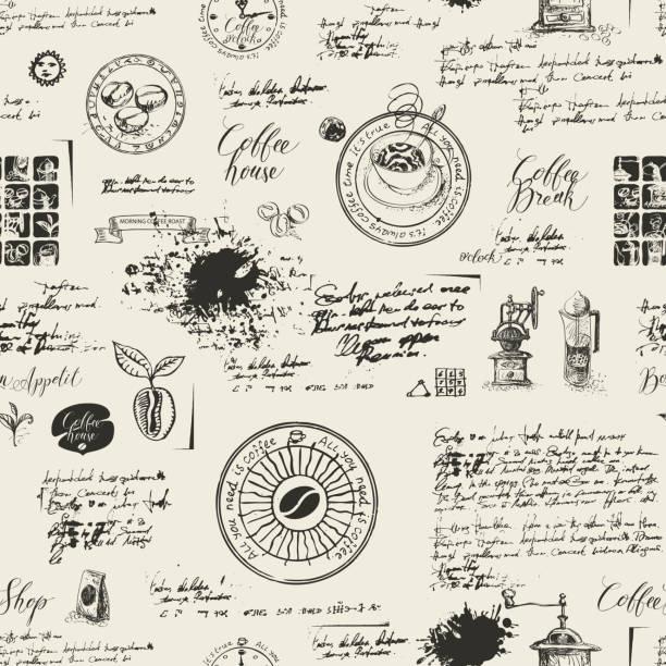 그런 지 커피 테마에 완벽 한 배경 - coffee stock illustrations