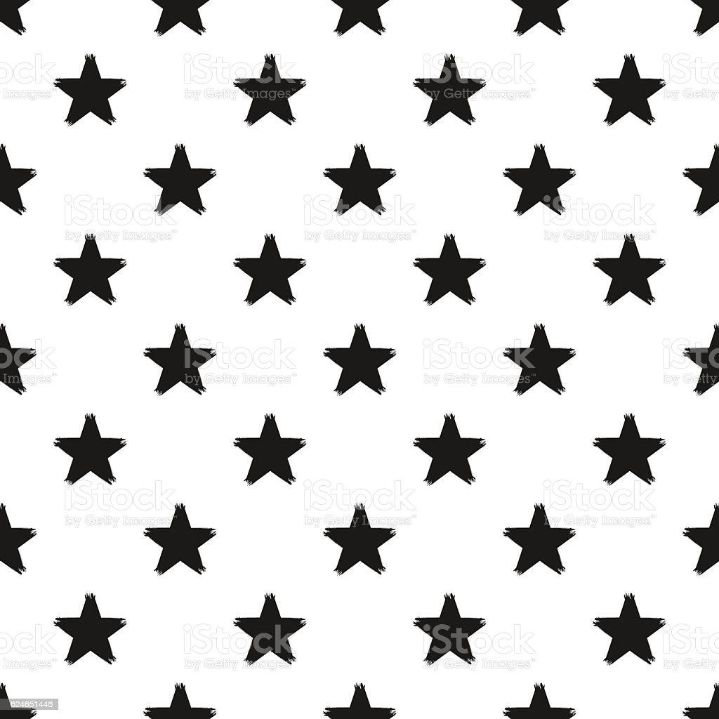Grunge Seamless Pattern Of Black Stars On White Background Royalty Free