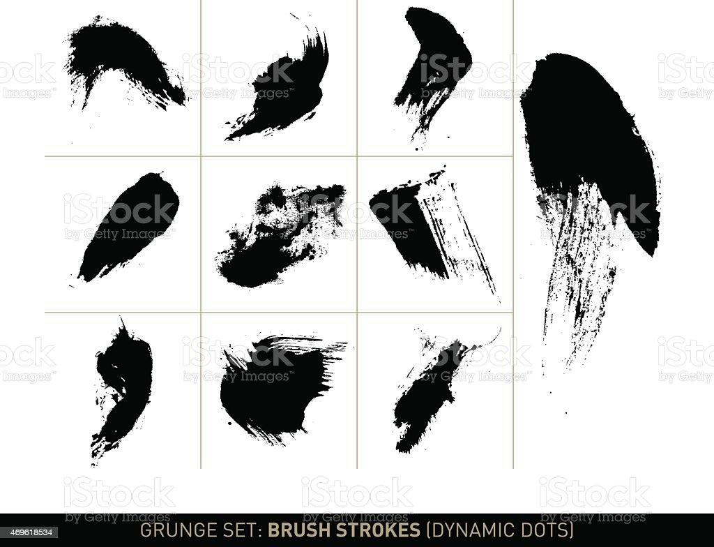 Grunge set: Brush strokes dynamic dots in b/w vector art illustration