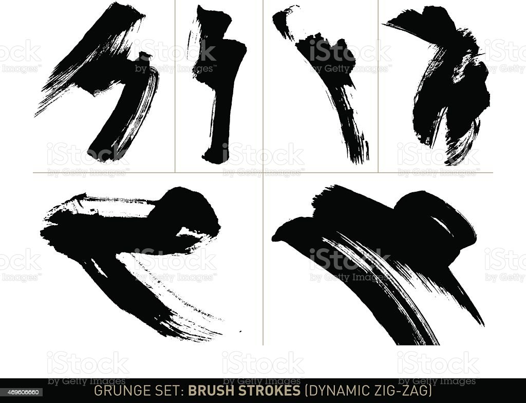 Grunge set: Brush strokes zig-zag in b/w vector art illustration