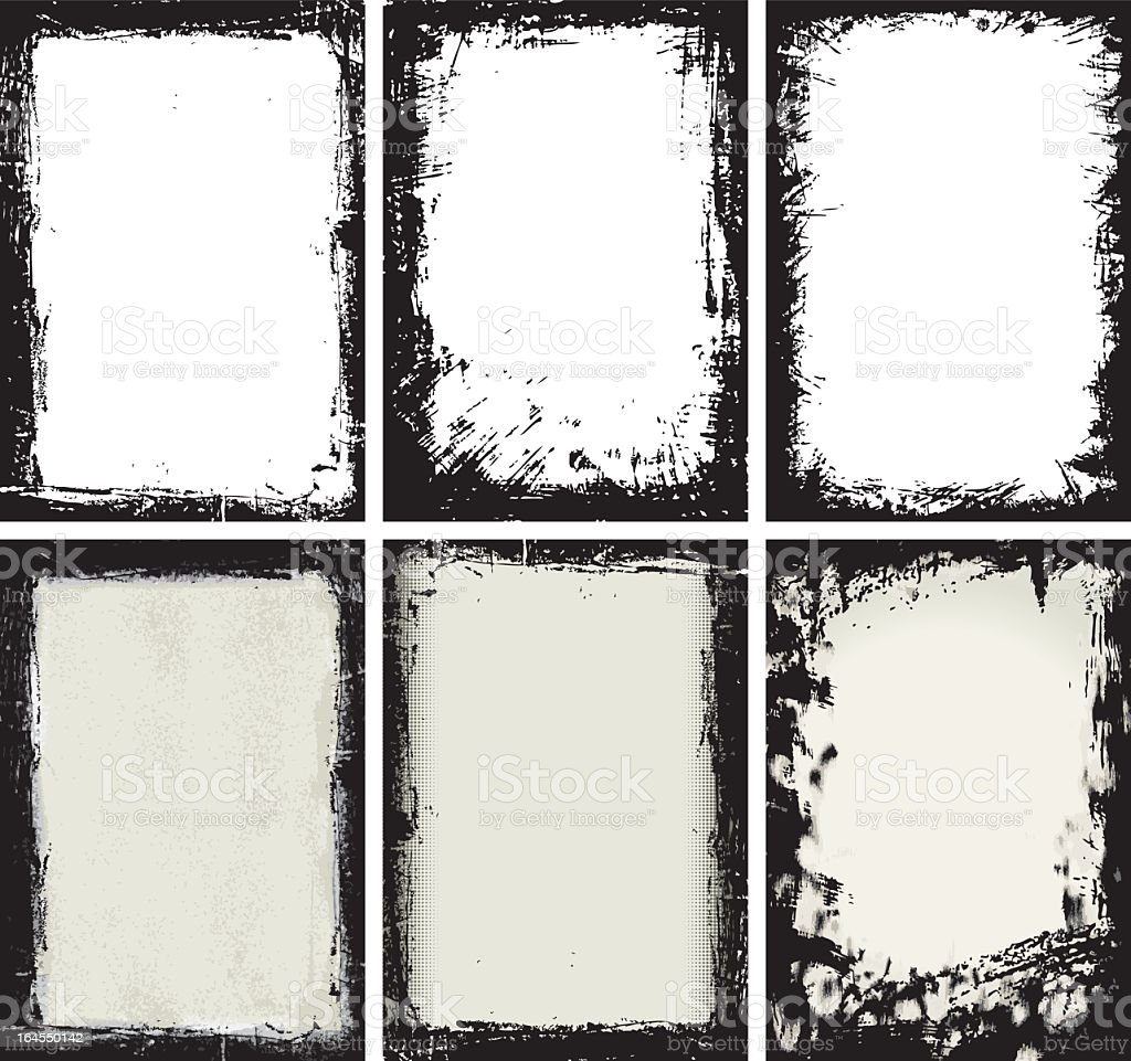 Grunge set composed by 6 different types with black frame vector art illustration