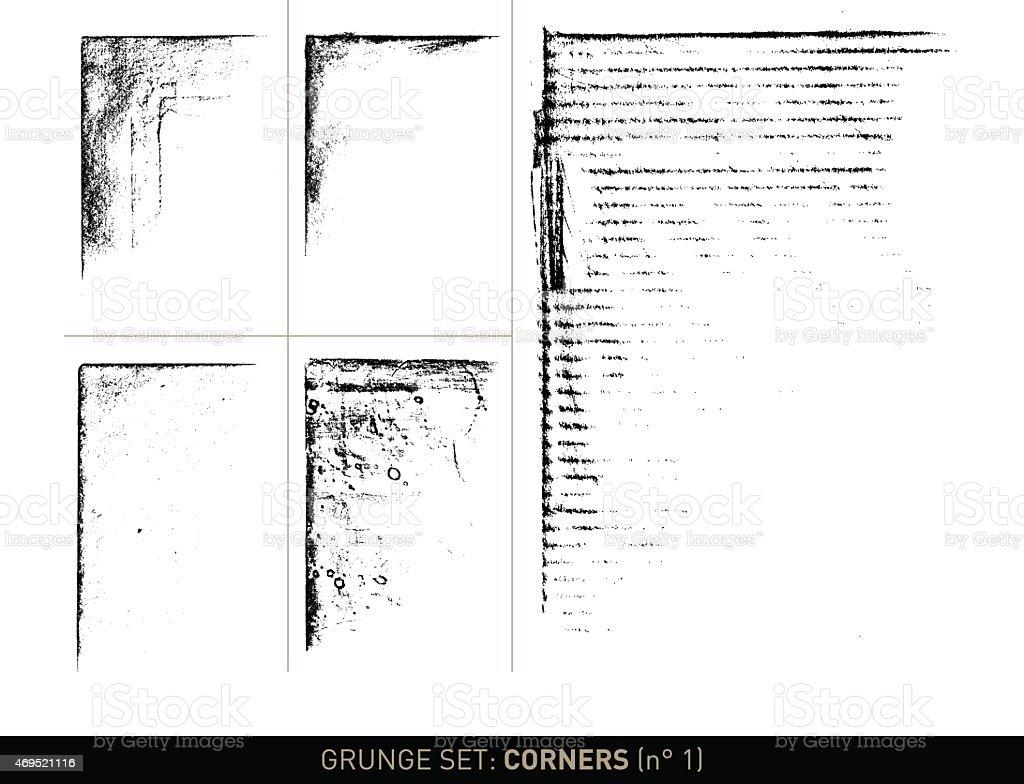 Grunge set: Corner elements in b/w · n° 1 vector art illustration