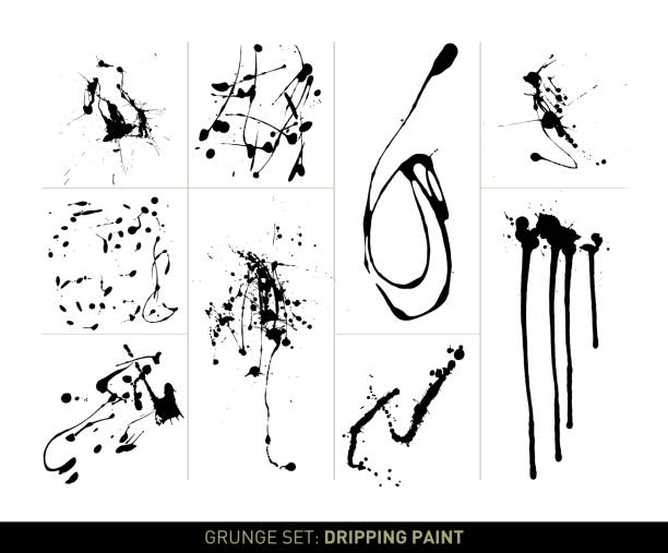 Grunge set: Dripping paint Set with 9 different, vectorized paint drippings in black on white background. The grunge effect is based on real splattered and dripped paint and ink. It shows different splash effects. Color can be easily changed. name of person stock illustrations