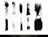 Set with 9 different, vectorized lines of squeezed and dragged dry paint in black on white background. The grunge effect is based on real paste-like paint treated with a palette knife and a paint roller. Color can be easily changed.