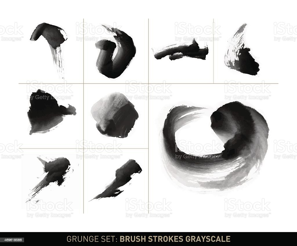 Grunge Set Dynamic Brush Stroke Movements In Grayscale