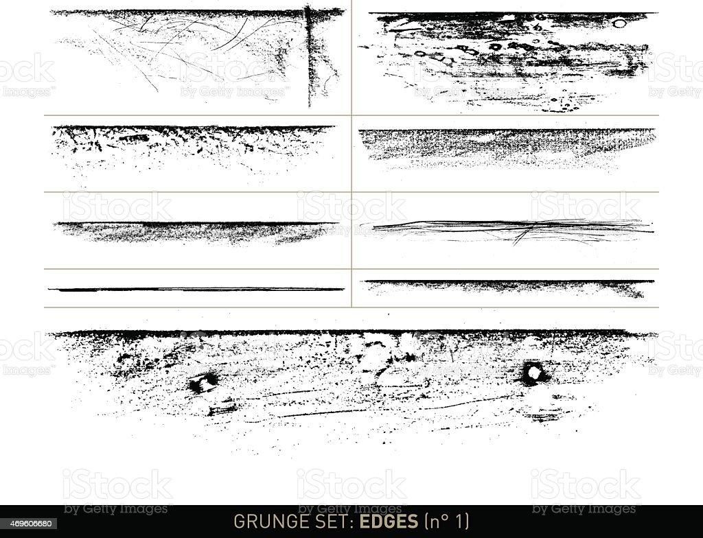 Conjunto de Grunge de: Borde elementos en b/w, N ° 1 - ilustración de arte vectorial