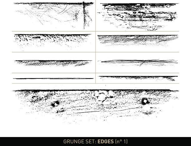 bildbanksillustrationer, clip art samt tecknat material och ikoner med grunge set: edge elements in b/w · n° 1 - wood stone