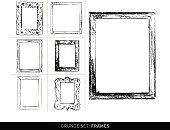 Set with 7 different, vectorized grunge frame elements in black on white background. The grunge texture effects are based on frontage and scans of real, old and used frames out of wood, plastic and metal. Color can be easily changed.