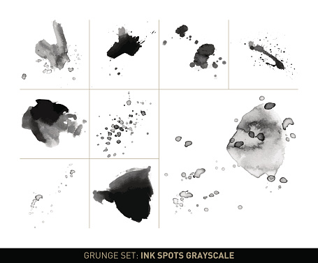 Grunge set: Ink spots and stains in grayscale