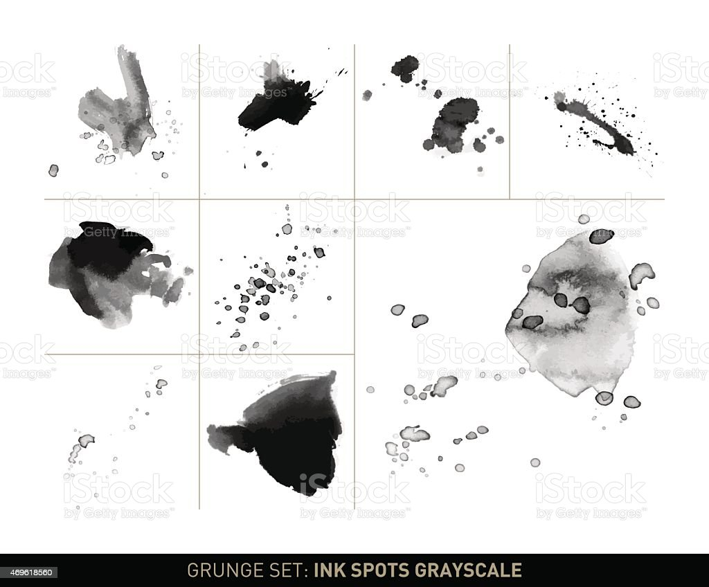 Grunge set: Ink spots and stains in grayscale vector art illustration