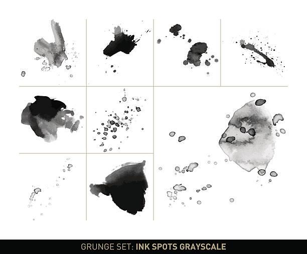 그런지 세트: 잉크에도 스팟 및 얼룩제거 회색조에 - 필기용 잉크 stock illustrations