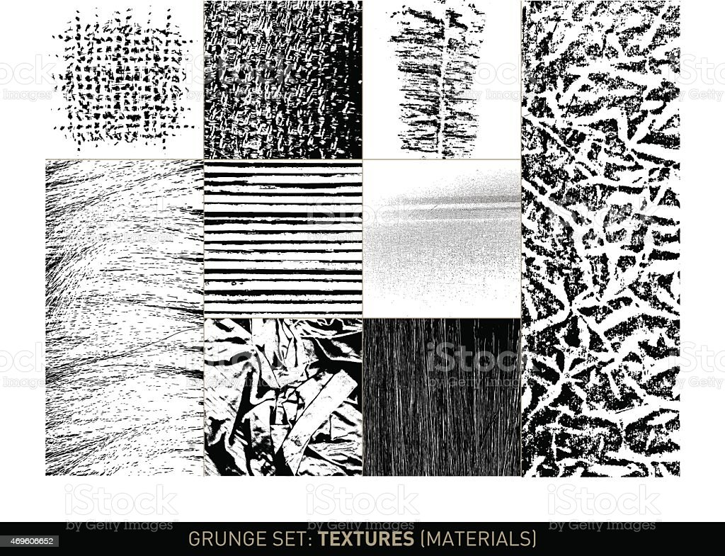 Grunge set: Material textures and backgrounds in b/w vector art illustration