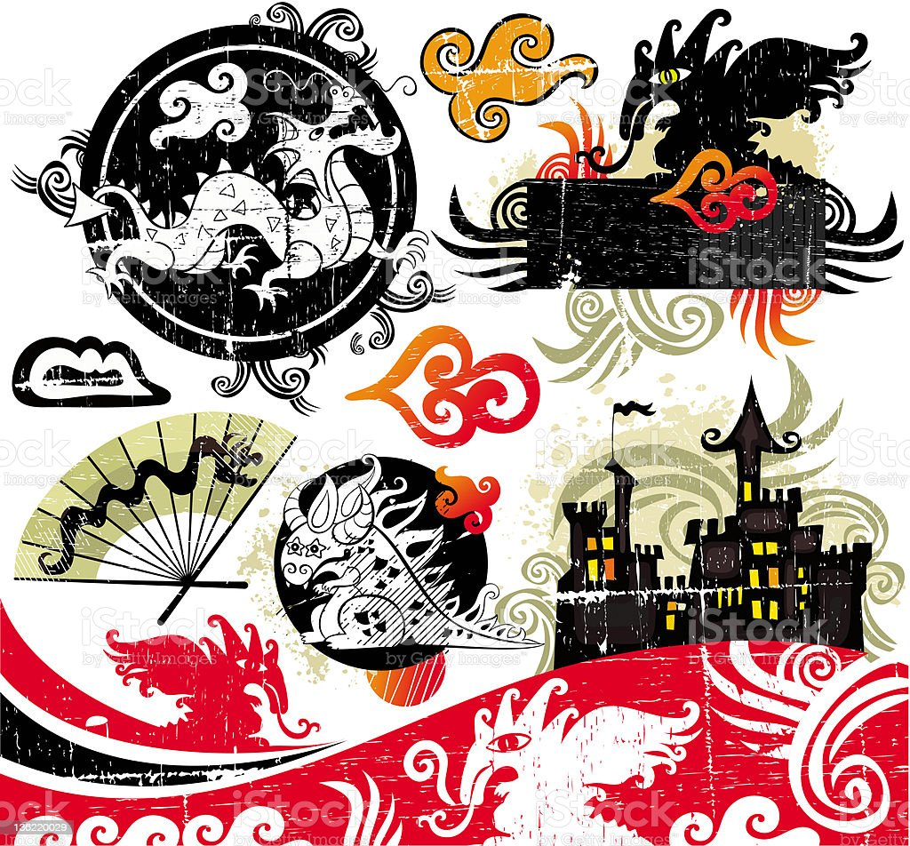Grunge set of  dragons royalty-free stock vector art