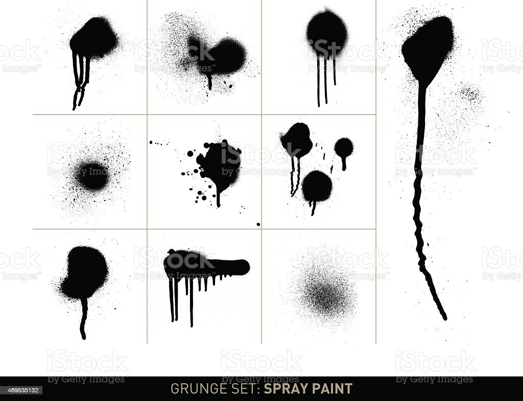 Grunge set: Spray paint in b/w vector art illustration