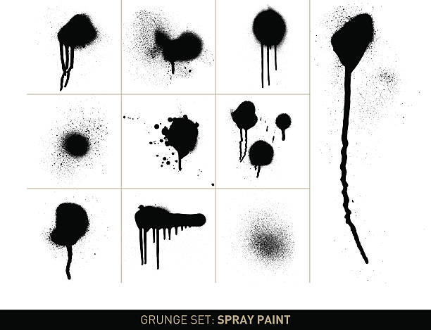 grunge-set:  spray paint s/w - graffiti struktur stock-grafiken, -clipart, -cartoons und -symbole