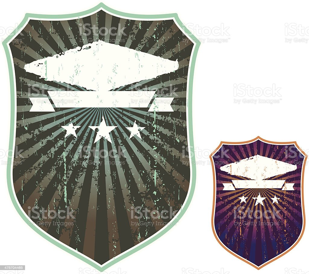 grunge shields in two colors royalty-free stock vector art