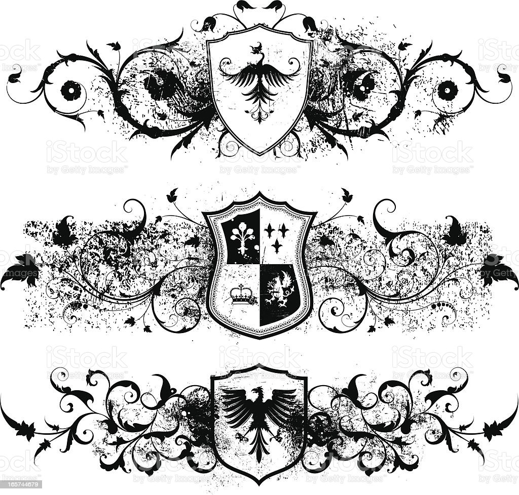 Grunge Shields royalty-free grunge shields stock vector art & more images of backgrounds