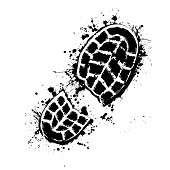 Grunge silhouette of shoe print on white background with in blots