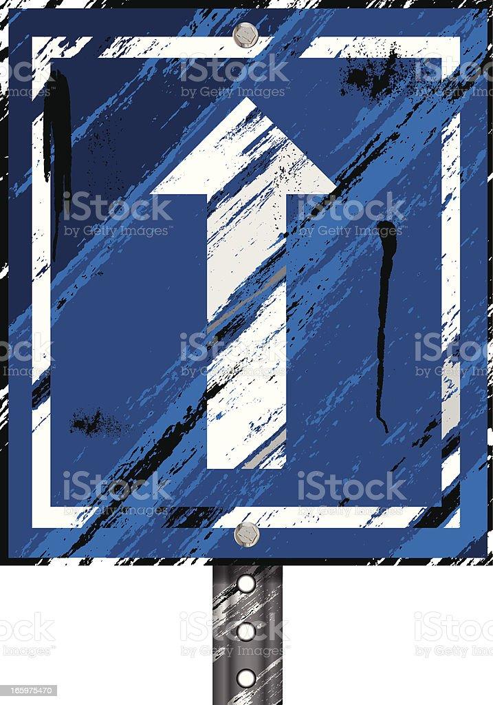 Grunge Sign | Arrow Blue royalty-free stock vector art