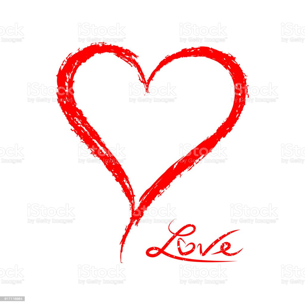 Grunge Sketch Red Heart Love Symbol Of Valentines Day Stock Vector