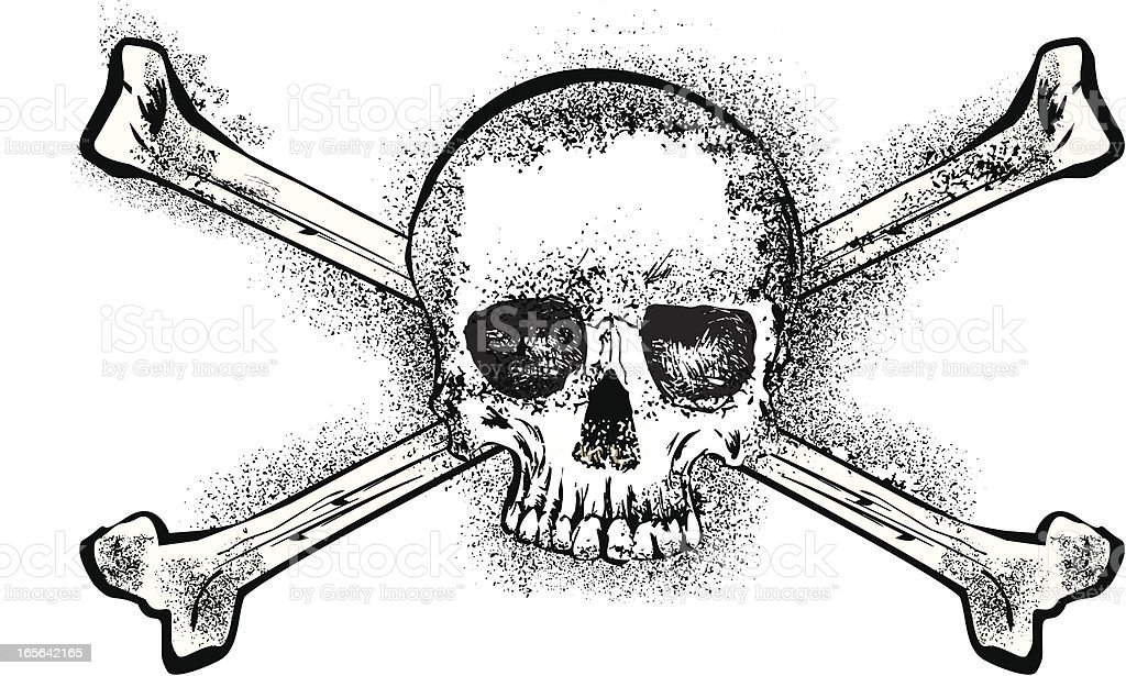 grunge skull and bones royalty-free stock vector art