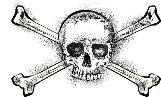 grunge skull and bones