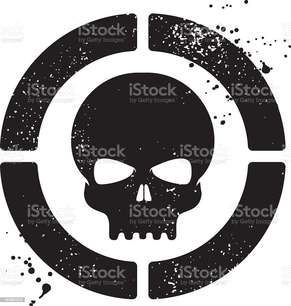 Grunge skull symbol vector art illustration