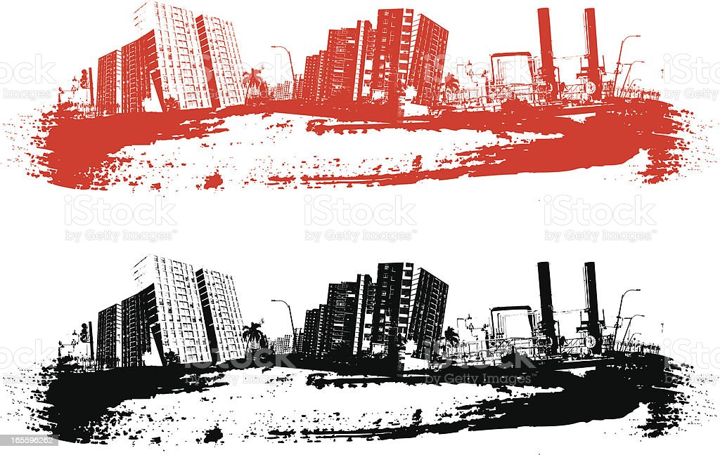 grunge skyline vector art illustration