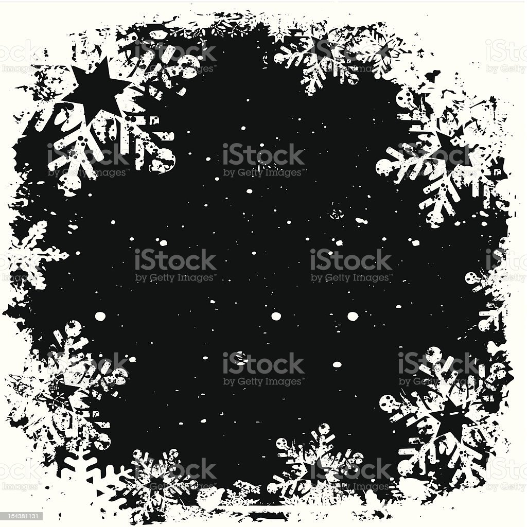 Grunge snowflake background - vector royalty-free stock vector art