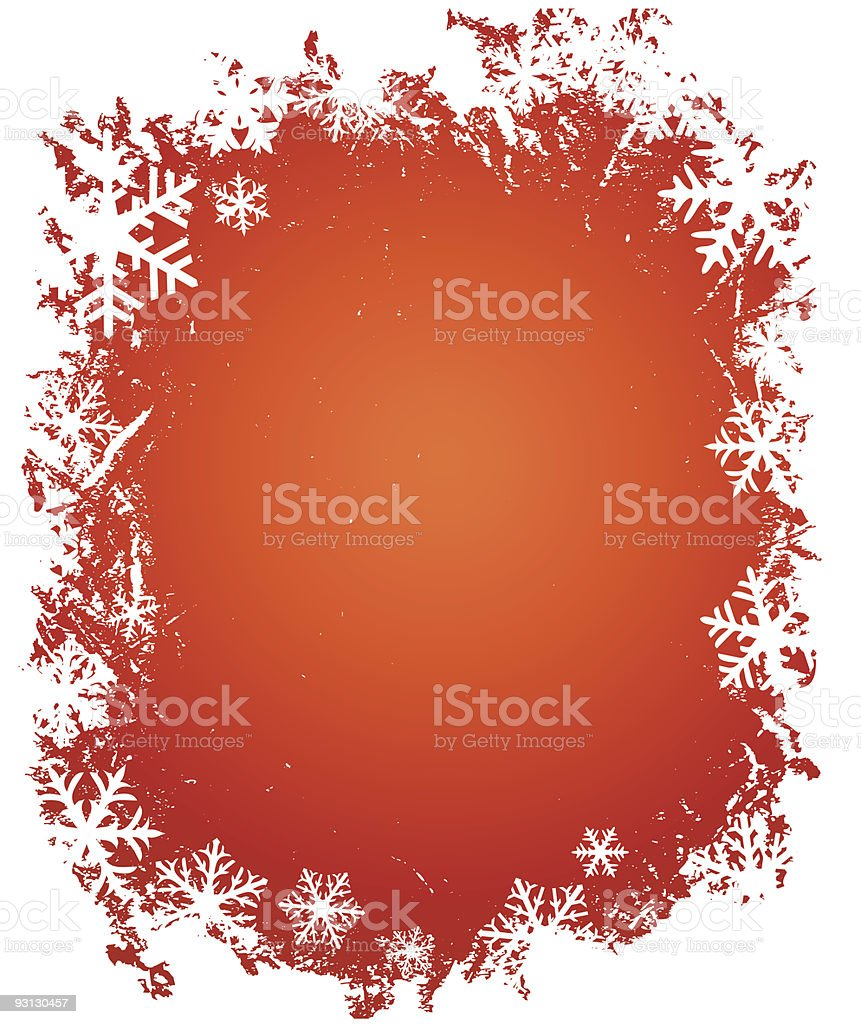 grunge snowflakes frame on red background royalty-free stock vector art