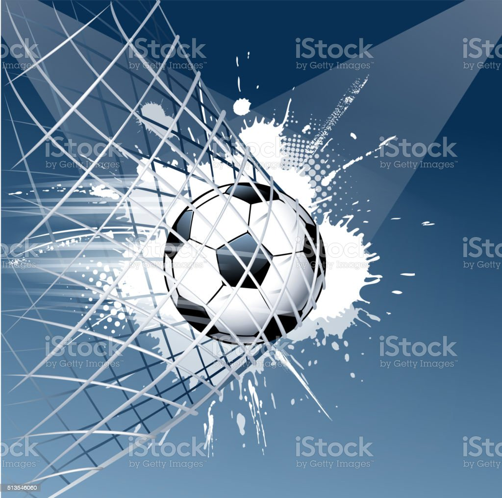 grunge soccer ball goal vector art illustration