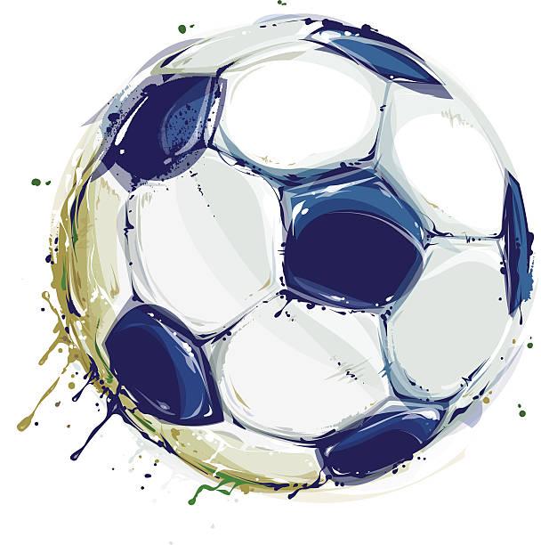 grunge-fußball-spielball - fußballkunst stock-grafiken, -clipart, -cartoons und -symbole