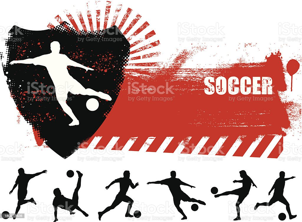 grunge soccer banner with many players vector art illustration