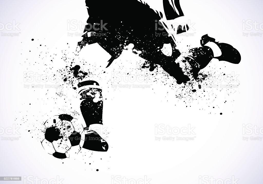 Grunge-Fußball geht, zu schießen – Vektorgrafik