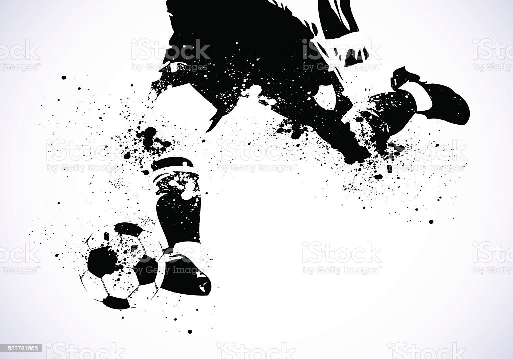 Grunge de fútbol se va a disparar - ilustración de arte vectorial