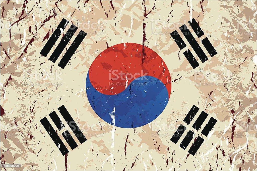 グランジ韓国の国旗 ベクターアートイラスト