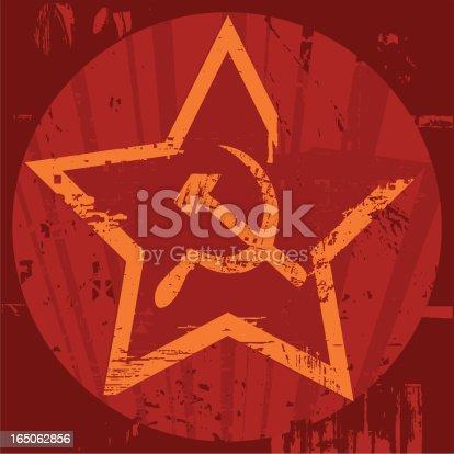 istock Grunge Soviet era emblem with hammer and sickle 165062856