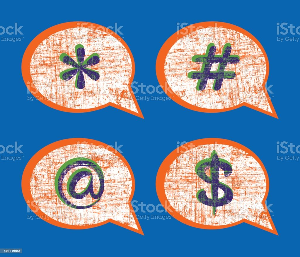 Grunge Speech Bubbles royalty-free grunge speech bubbles stock vector art & more images of 'at' symbol