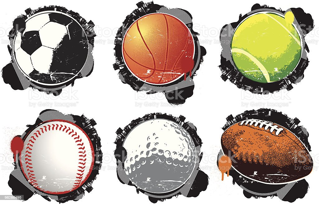 Grunge Sports Balls royalty-free grunge sports balls stock vector art & more images of american football - ball