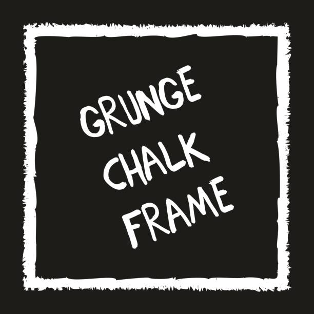 grunge kare el ile tebeşir mum boya boyalı - chalk outline stock illustrations, clip art, cartoons, & icons