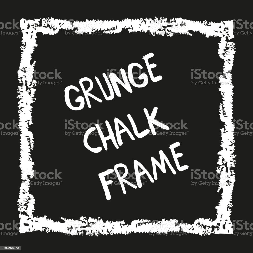 Grunge square hand painted with chalk crayon vector art illustration