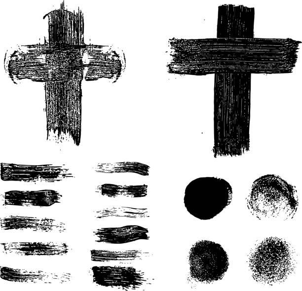 Grunge Stains Set On White Background Vector Art Illustration