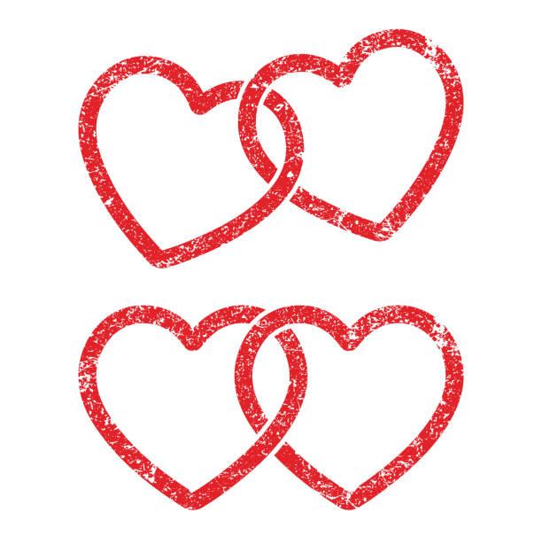 bildbanksillustrationer, clip art samt tecknat material och ikoner med grunge stämpel stil låst, länkade kärlek hjärta form vektor ikon tecken. isolerad på vit bakgrund. like, bröllop hjärtan logo symbol bild. - chain studio